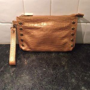 Hammity of Los Angeles Gold Clutch Handbag